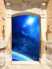 Frame with ancient door and space scene
