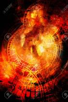 Goddess Woman and zodiac. Cosmic background. Fire effect
